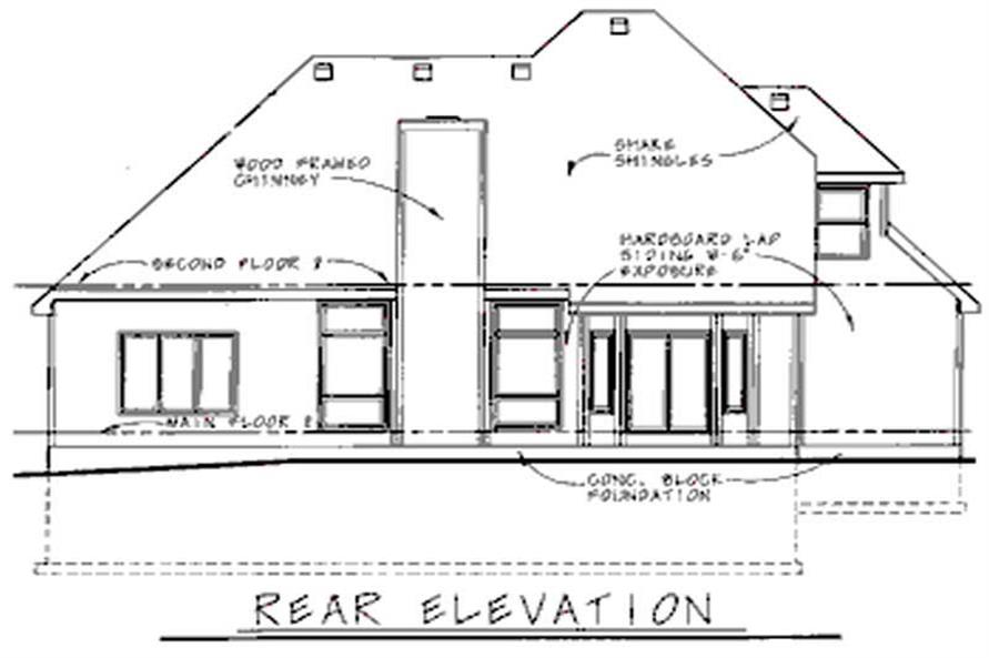 Home Plan Rear Elevation of this 4-Bedroom,2190 Sq Ft Plan -120-1959