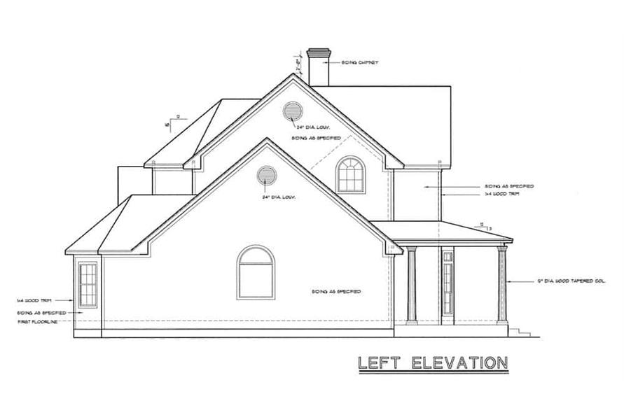 Home Plan Left Elevation of this 4-Bedroom,2715 Sq Ft Plan -120-1964