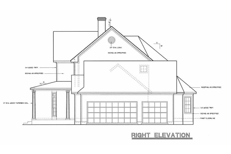 Home Plan Right Elevation of this 4-Bedroom,2715 Sq Ft Plan -120-1964