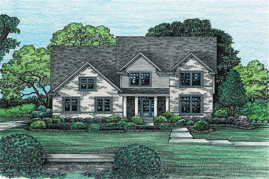 4-Bedroom, 2665 Sq Ft Country Home Plan - 120-1970 - Main Exterior