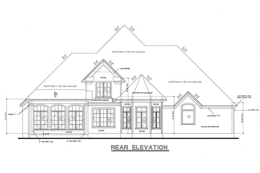 Home Plan Rear Elevation of this 3-Bedroom,2371 Sq Ft Plan -120-1972
