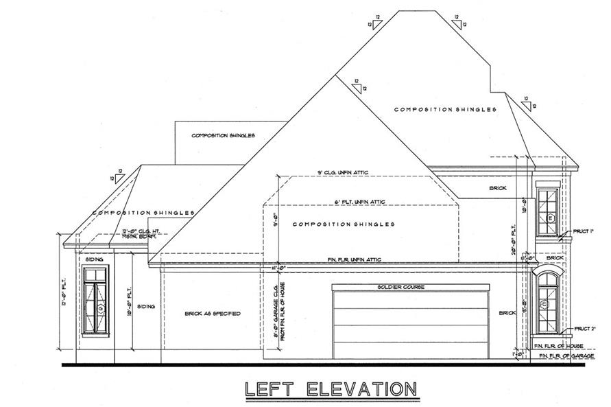 Home Plan Left Elevation of this 3-Bedroom,2371 Sq Ft Plan -120-1972