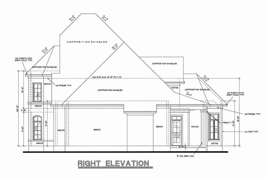 120-1972: Home Plan Right Elevation
