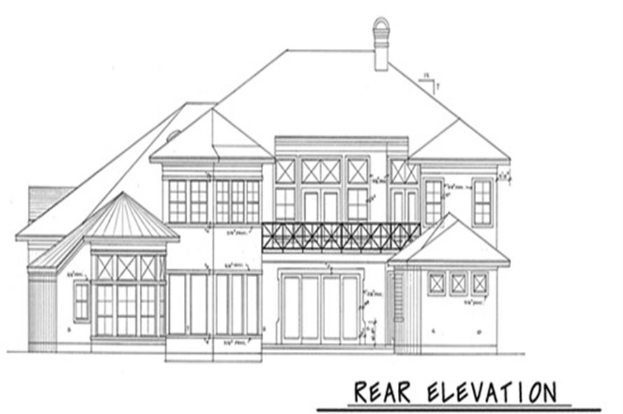 Home Plan Rear Elevation of this 4-Bedroom,3894 Sq Ft Plan -120-1973