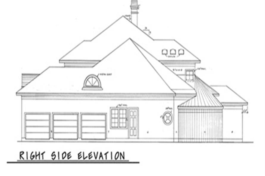 Home Plan Right Elevation of this 4-Bedroom,3894 Sq Ft Plan -120-1973