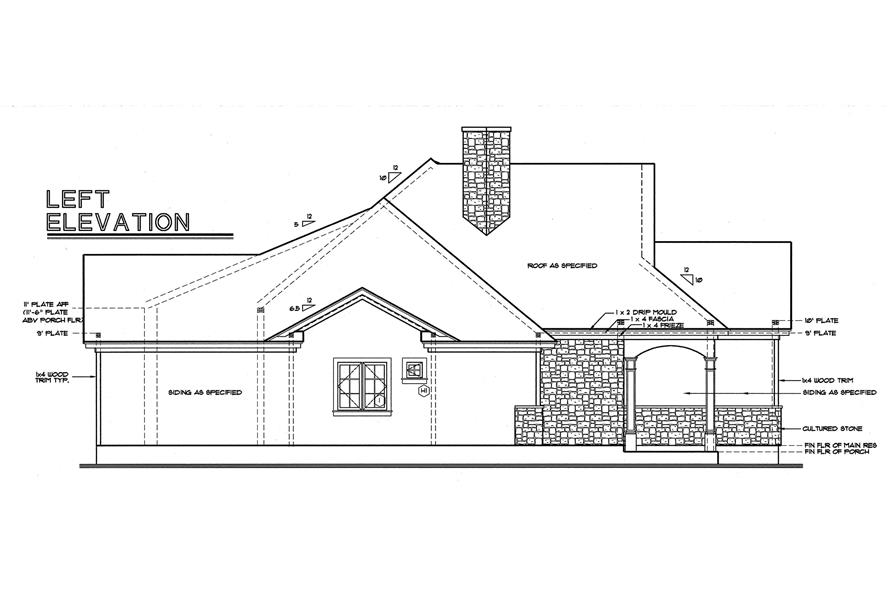 Home Plan Left Elevation of this 3-Bedroom,2203 Sq Ft Plan -120-1977