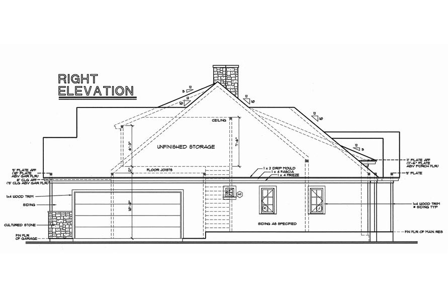 Home Plan Right Elevation of this 3-Bedroom,2203 Sq Ft Plan -120-1977