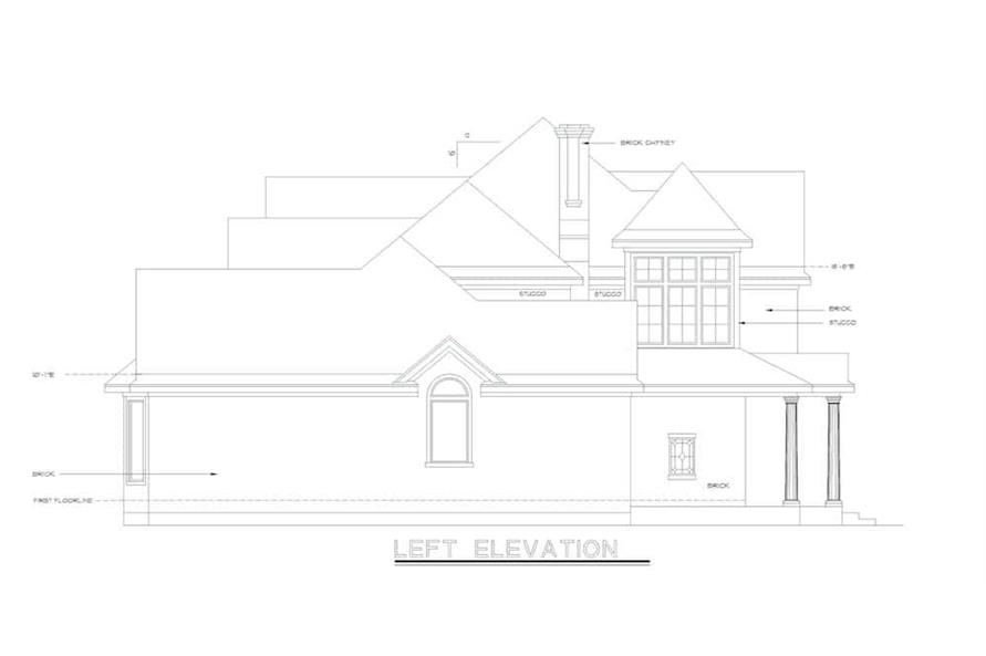 Home Plan Left Elevation of this 4-Bedroom,2639 Sq Ft Plan -120-1983