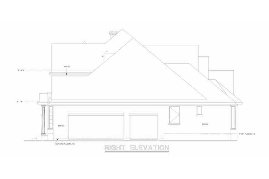 Home Plan Right Elevation of this 4-Bedroom,2639 Sq Ft Plan -120-1983