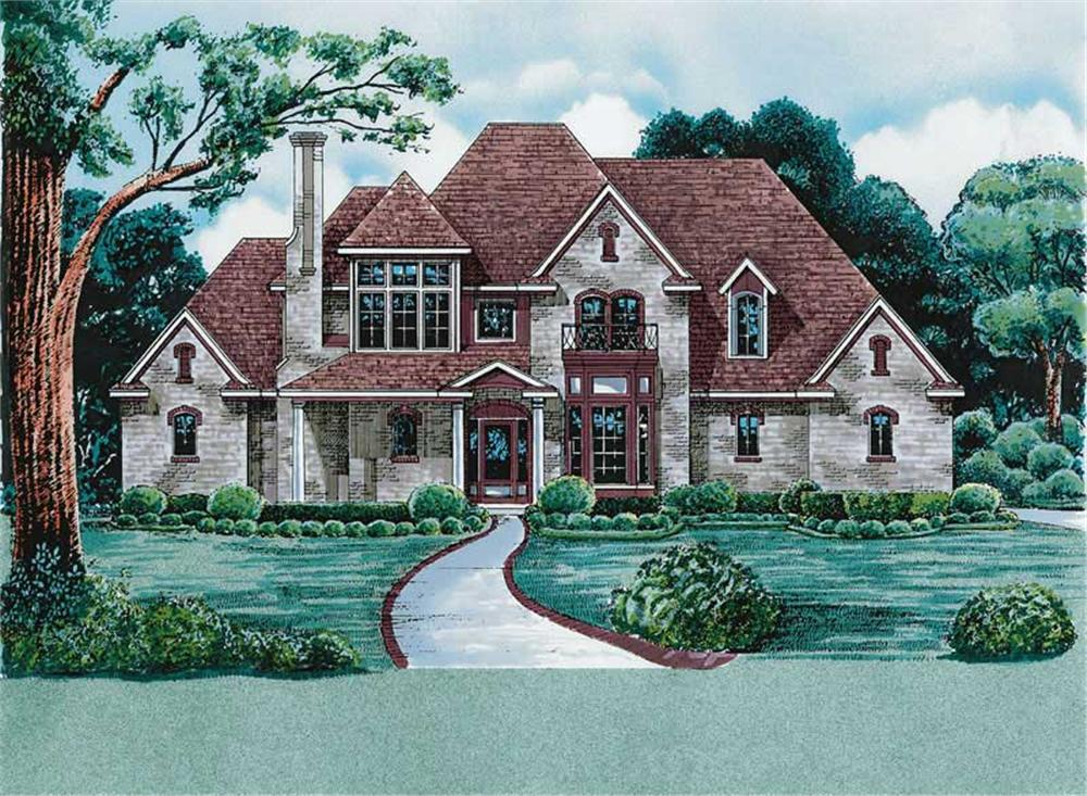 Front elevation of European home (ThePlanCollection: House Plan #120-1983)