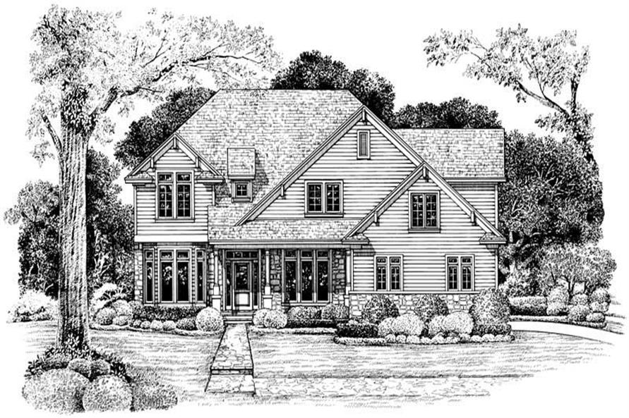 4-Bedroom, 2939 Sq Ft Country House Plan - 120-1987 - Front Exterior
