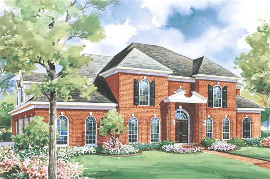 This image shows the front elevation of these Luxury House Plans, Southern House Plans, French House Plans, European House Plans.