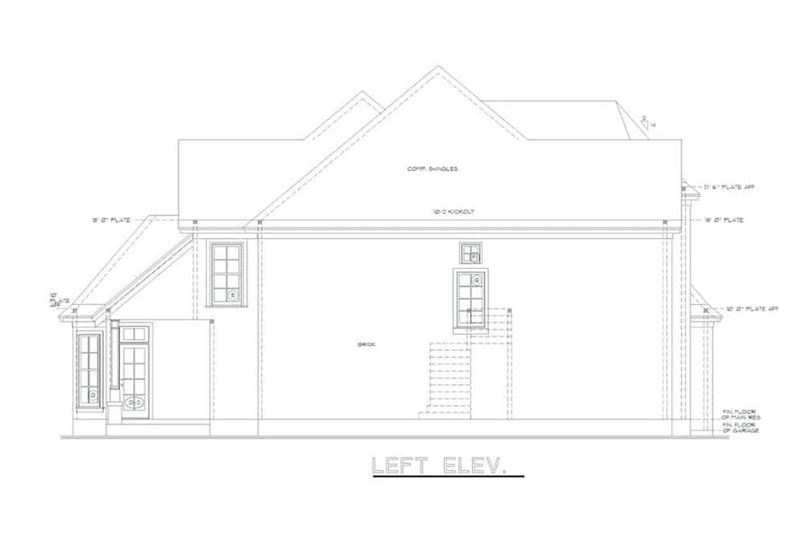 Home Plan Left Elevation of this 4-Bedroom,2777 Sq Ft Plan -120-2001