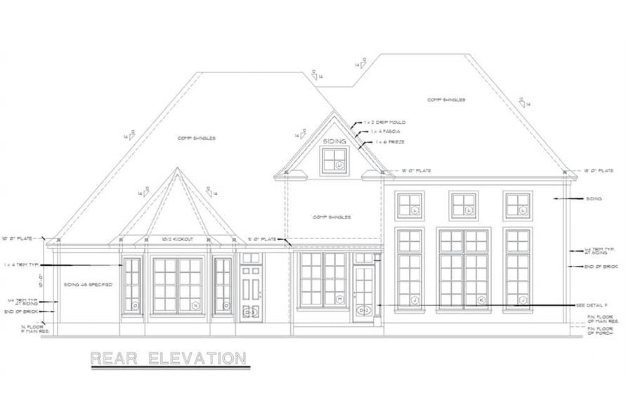 Home Plan Rear Elevation of this 4-Bedroom,2777 Sq Ft Plan -120-2001