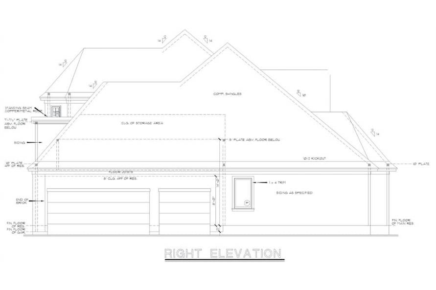 Home Plan Right Elevation of this 4-Bedroom,2777 Sq Ft Plan -120-2001