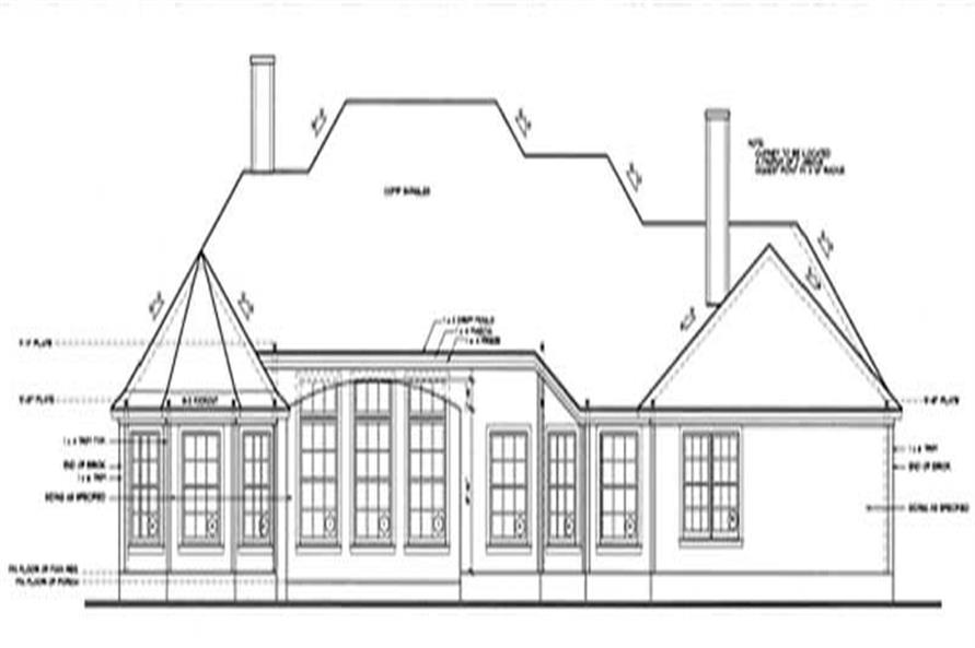 Home Plan Rear Elevation of this 3-Bedroom,2331 Sq Ft Plan -120-2014