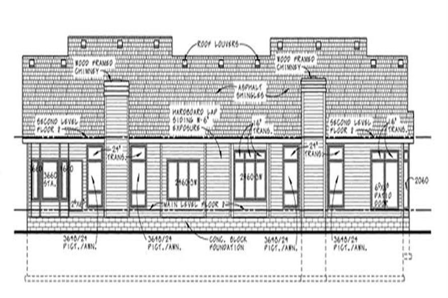 Home Plan Rear Elevation of this 3-Bedroom,1772 Sq Ft Plan -120-2015