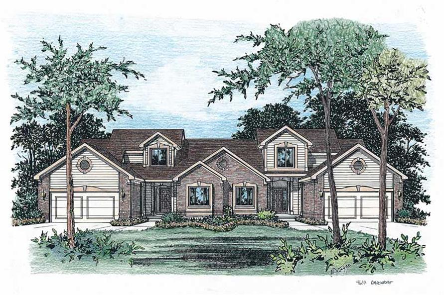 3-Bedroom, 1772 Sq Ft Multi-Unit Home Plan - 120-2015 - Main Exterior