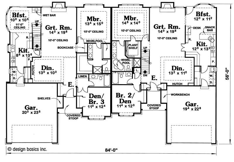 Multi family plan 120 2015 3 bedroom 1772 sq ft multi unit small tpc - Multi unit house plans family friends ...