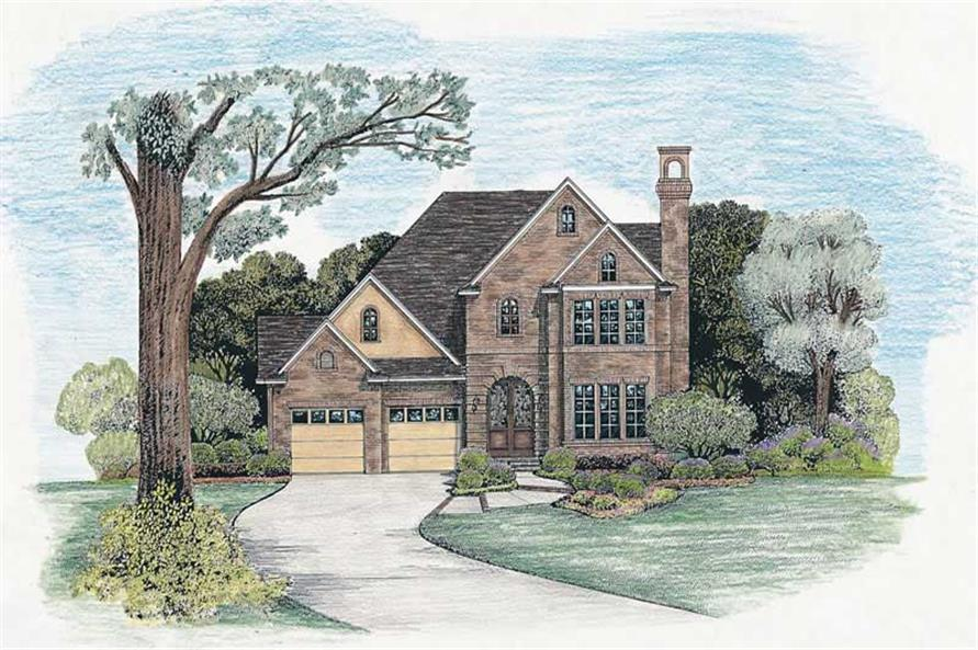 3-Bedroom, 2114 Sq Ft European House Plan - 120-2018 - Front Exterior