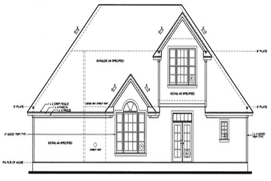 Home Plan Rear Elevation of this 3-Bedroom,1819 Sq Ft Plan -120-2021