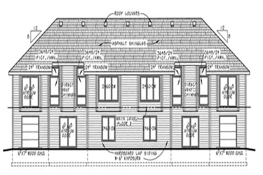 Home Plan Rear Elevation of this 2-Bedroom,1331 Sq Ft Plan -120-2022