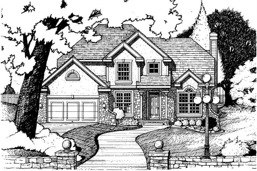 Home Plan Rendering of this 4-Bedroom,2402 Sq Ft Plan -120-2025