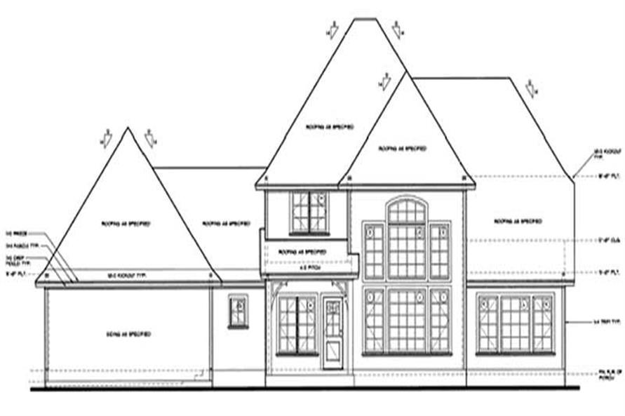 Home Plan Rear Elevation of this 4-Bedroom,2508 Sq Ft Plan -120-2029