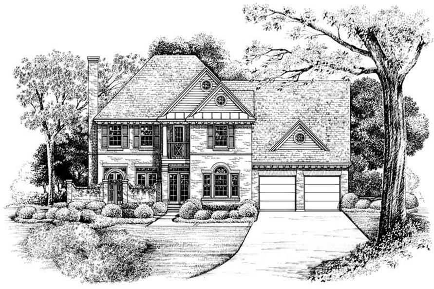 French Homeplans front elevation rendering.