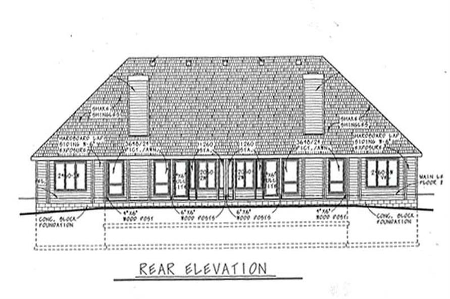 Home Plan Rear Elevation of this 3-Bedroom,1478 Sq Ft Plan -120-2039