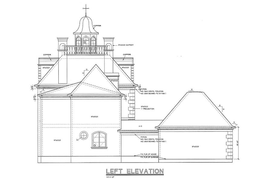 Home Plan Left Elevation of this 4-Bedroom,3335 Sq Ft Plan -120-2042