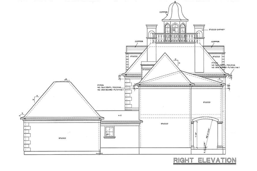 Home Plan Right Elevation of this 4-Bedroom,3335 Sq Ft Plan -120-2042
