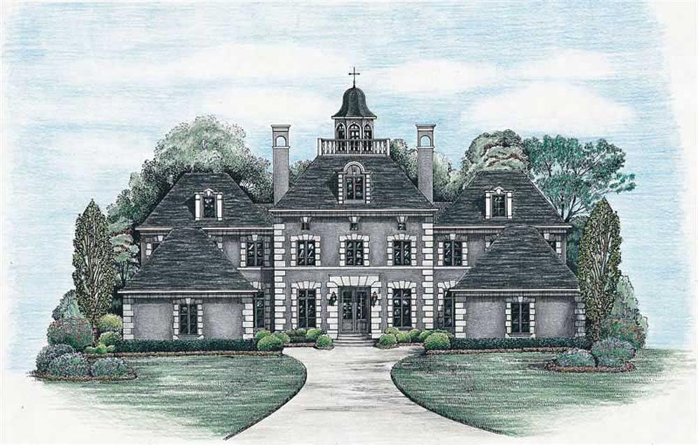 Front elevation of Colonial home (ThePlanCollection: House Plan #120-2042)