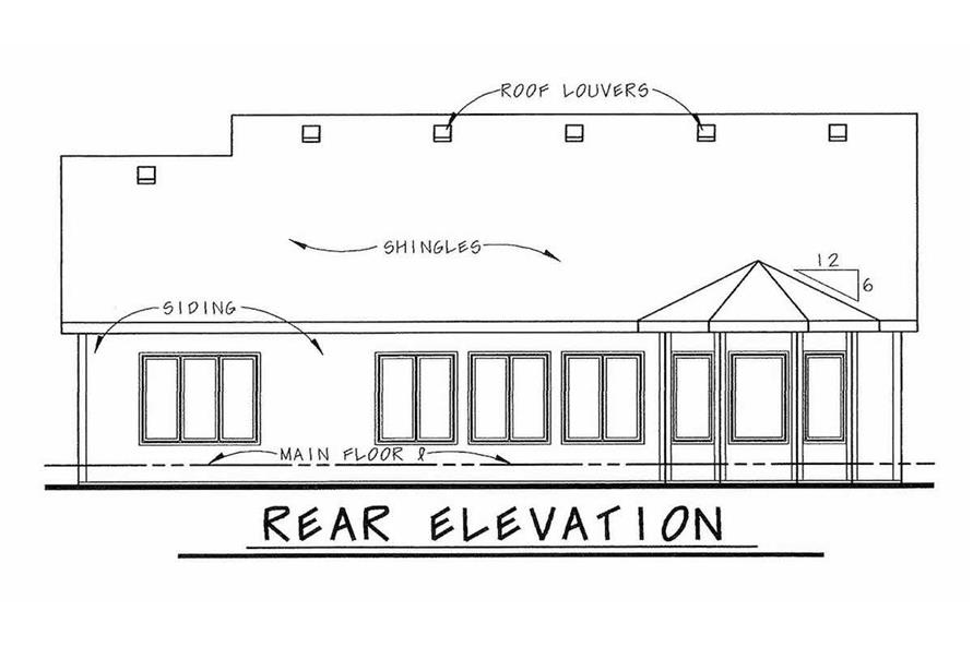 Home Plan Rear Elevation of this 2-Bedroom,1692 Sq Ft Plan -120-2046