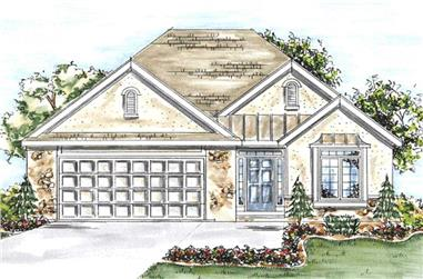 2-Bedroom, 1550 Sq Ft Country House Plan - 120-2052 - Front Exterior