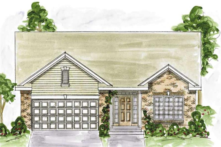 2-Bedroom, 1490 Sq Ft Ranch House Plan - 120-2055 - Front Exterior