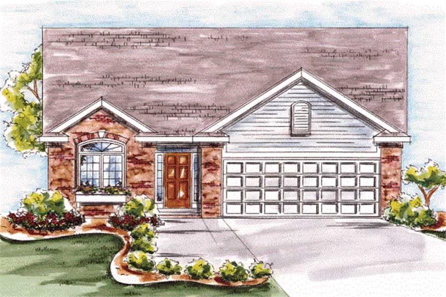 2-Bedroom, 1423 Sq Ft Ranch Home Plan - 120-2056 - Main Exterior