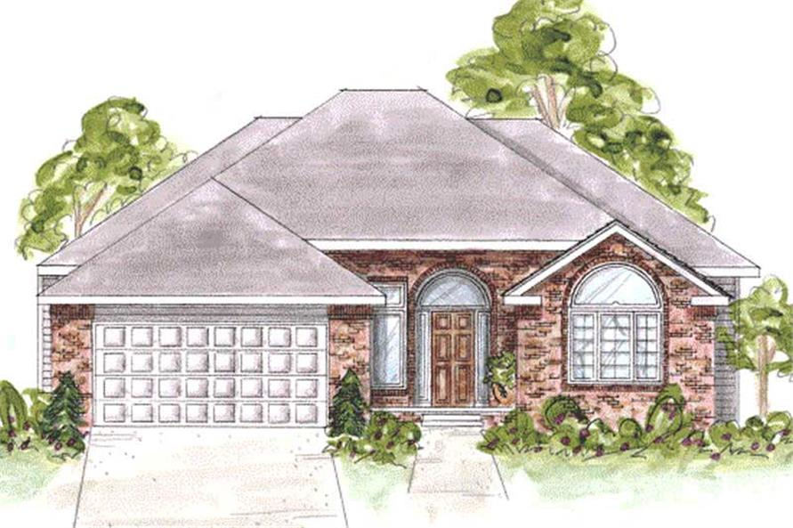 1-Bedroom, 1921 Sq Ft Ranch House Plan - 120-2058 - Front Exterior