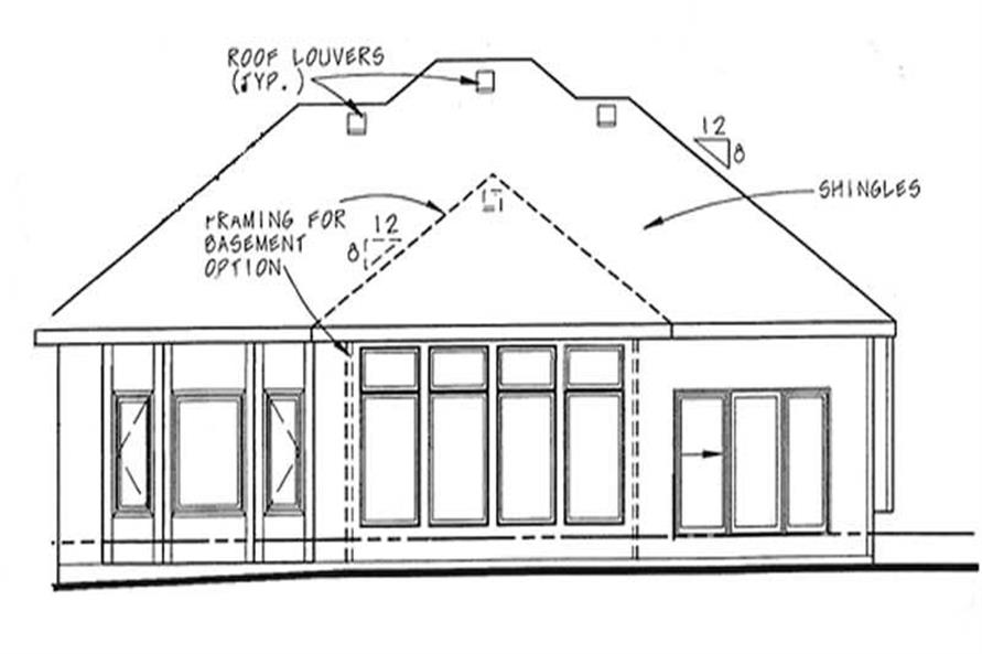 Home Plan Rear Elevation of this 1-Bedroom,1921 Sq Ft Plan -120-2058