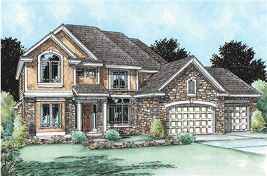 4-Bedroom, 2917 Sq Ft Traditional Home Plan - 120-2068 - Main Exterior