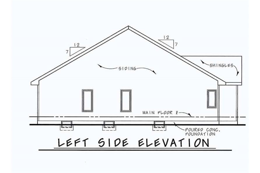 Home Plan Left Elevation of this 2-Bedroom,1091 Sq Ft Plan -120-2069