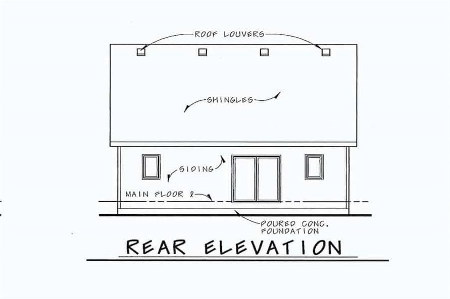 Home Plan Rear Elevation of this 2-Bedroom,1091 Sq Ft Plan -120-2069