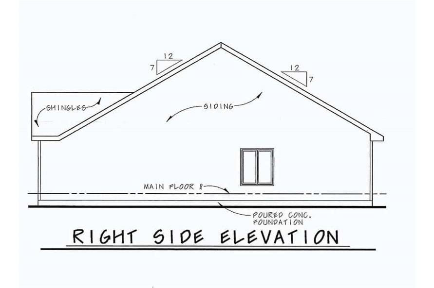 Home Plan Right Elevation of this 2-Bedroom,1091 Sq Ft Plan -120-2069