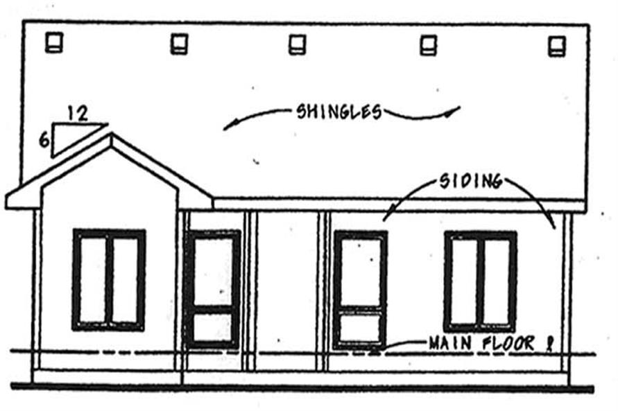 Home Plan Rear Elevation of this 2-Bedroom,1209 Sq Ft Plan -120-2070