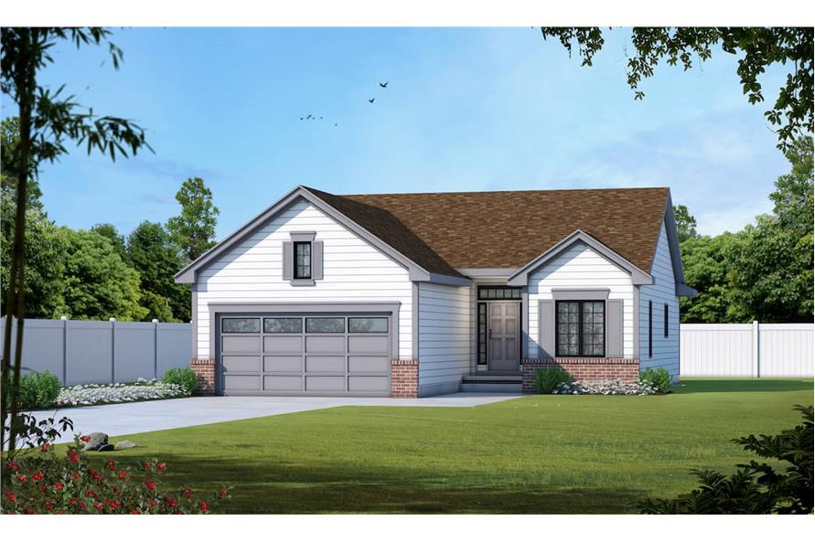 2-Bedroom, 1209 Sq Ft Ranch House - Plan #120-2070 - Front Exterior
