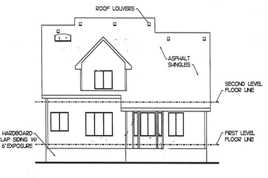 Home Plan Rear Elevation of this 4-Bedroom,1870 Sq Ft Plan -120-2076