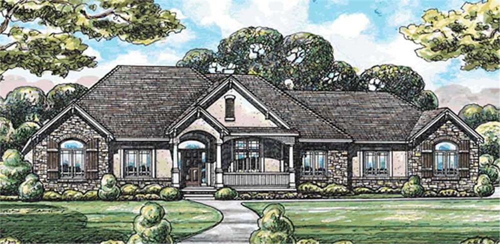 Front elevation of Country home (ThePlanCollection: House Plan #120-2077)