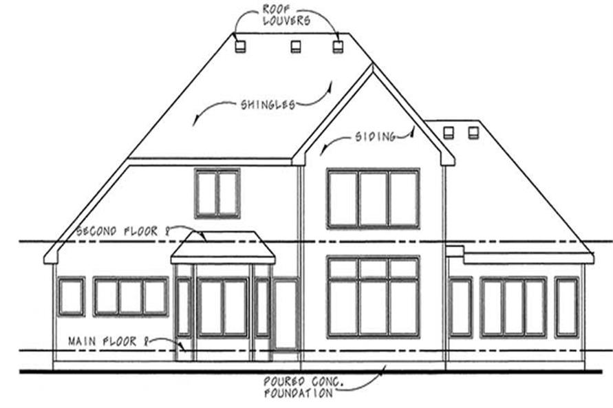 Home Plan Rear Elevation of this 3-Bedroom,2476 Sq Ft Plan -120-2084