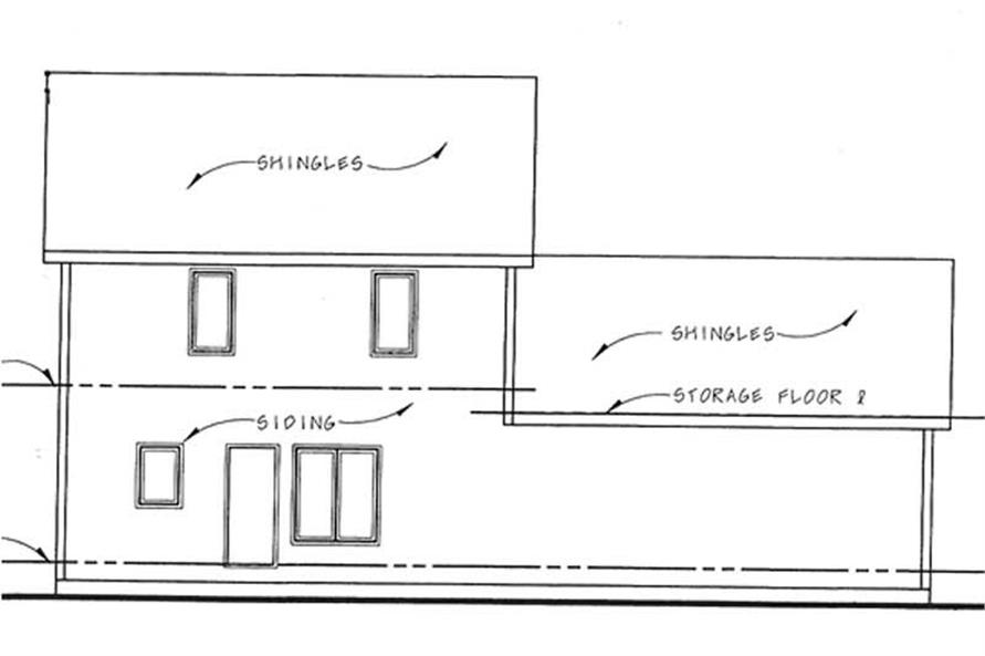 Home Plan Rear Elevation of this 3-Bedroom,1372 Sq Ft Plan -120-2090