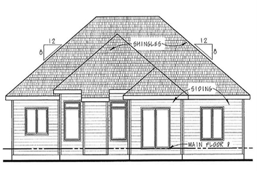 Home Plan Rear Elevation of this 3-Bedroom,1642 Sq Ft Plan -120-2091